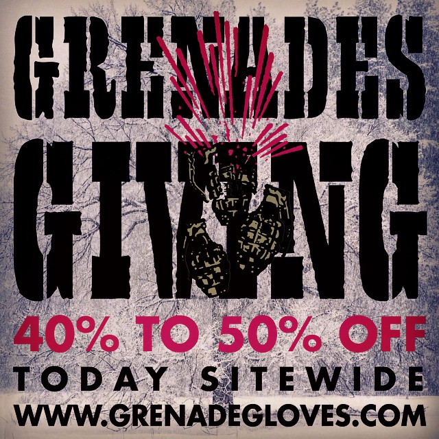 Last day of the #BlackFriday sale which into turned to the #BlackandBlueSaturday super sale...what's today then, the #PurpleSunday Mondo Blowout? Sure why not? So get over to www.grenadegloves.com for some 40/50% off deals! #grenadesgiving