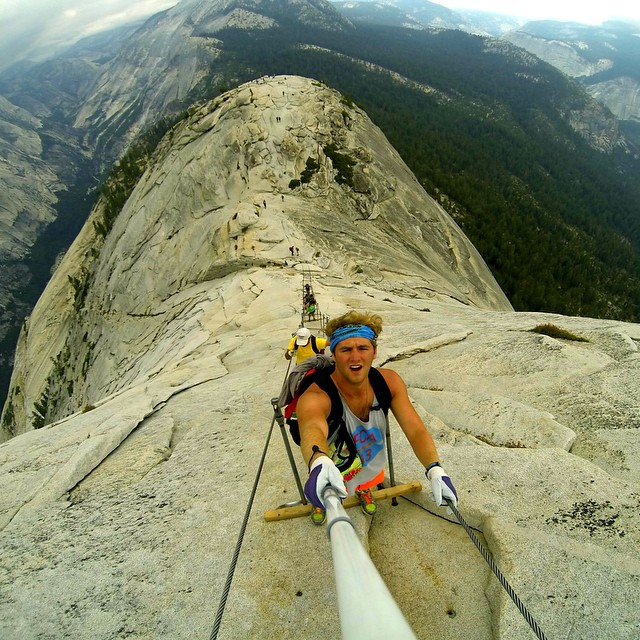 Photo of the Day! @Willypk at the steel cables on Half Dome.