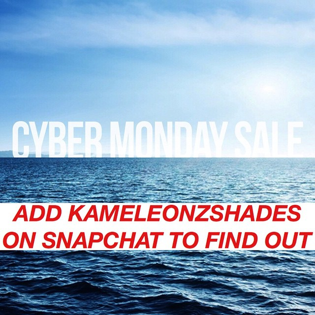 CYBER MONDAY SALE STARTS NOW!! 20% OFF SELECTED ITEMS & AN ADDITIONAL 20% OFF PROMO CODE AVAILABLE ONLY ON SNAPCHAT - ADD KAMELEONZSHADES - MONDAY ONLY! #Kameleonz #CyberMonday #Sale #ThisIsMyBeach #LifesABeach Kameleonz.com
