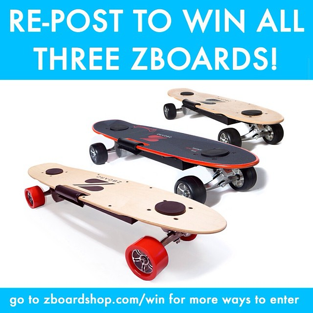 Re-post this photo with the hashtag #WinAllThreeZBoards for a chance to win a ZBoard Classic, Pro, and SF Special!  Check out the link in our profile for more ways to win!