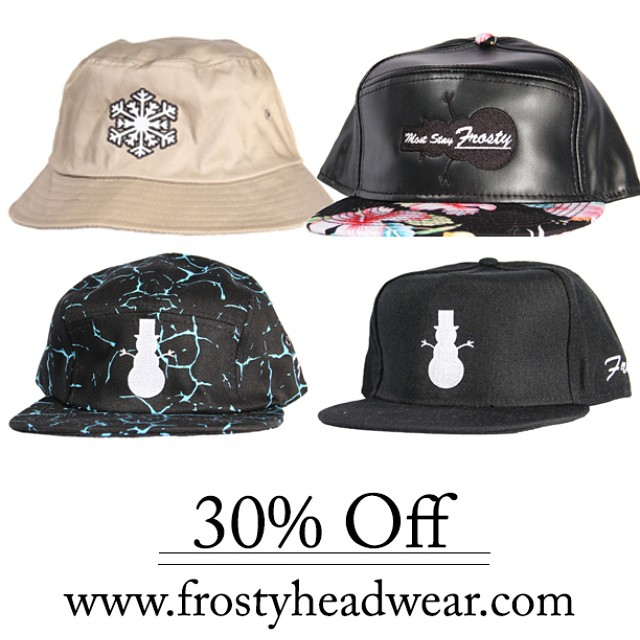 30% off all buckets, snapbacks and 5 panels! #FrostyHeadwear #5Panel #Snapback #BucketHat #CyberMonday