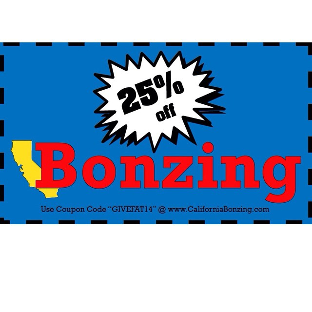 "Last day to get 25% off all apparel at CaliforniaBonzing.com by using coupon code ""GIVEFAT14."" #bonzing #sanfrancisco #skateboarding #shapers #artists"
