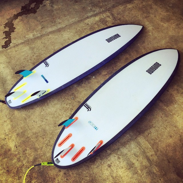 left: theStandard 6'0x19 1/4 x2 3/8 right: shorty 5'9 x 19 1/2 x 2 5/16  #awesome #awesomesurfboards #shredsleds #madeincalifornia #futureflex #futures