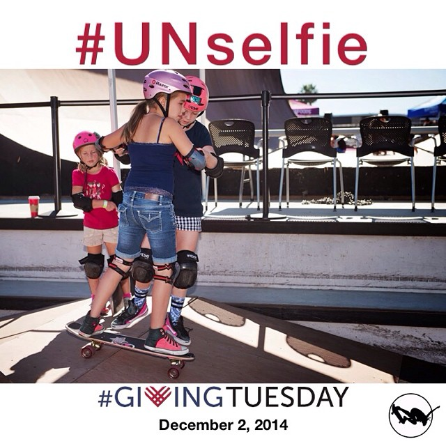 How are you giving back this #givingTuesday? Here is an #unselfie of @poppystarr giving back by taking the time to share her love for skateboarding even though her contest heat is only minutes away! Help create more #unselfie moments like this one by...