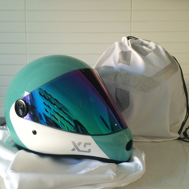 Good things come to those who wait...The XS x Predator collab helmet available Spring 2015, shown in Seaglass/White with it's silver/white carry bag  #xshelmets #predatorhelmets #forgirlswhoshred #fullfacehelmet #skatebikeboardski