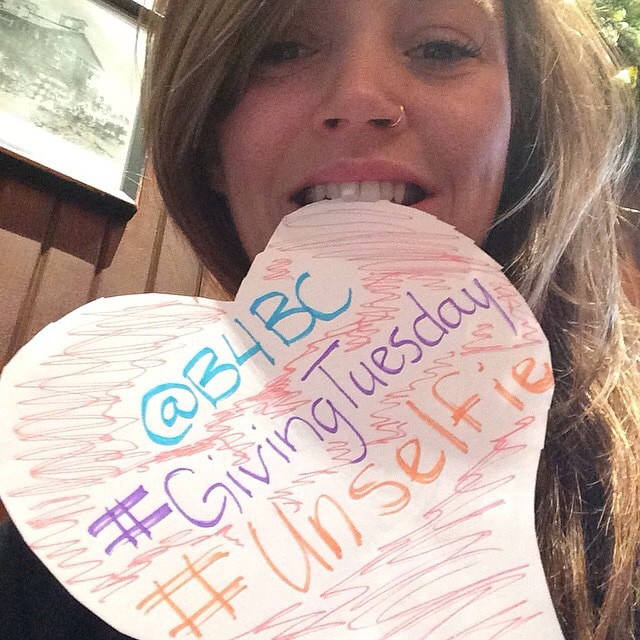 #TeamB4BC snowboarder @kaitlynfarr rides for B4BC to #behealthygetactive!  Stay tuned to see #unselfies from #B4BC riders all day long in celebration of #GivingTuesday, and post your own to get involved!!