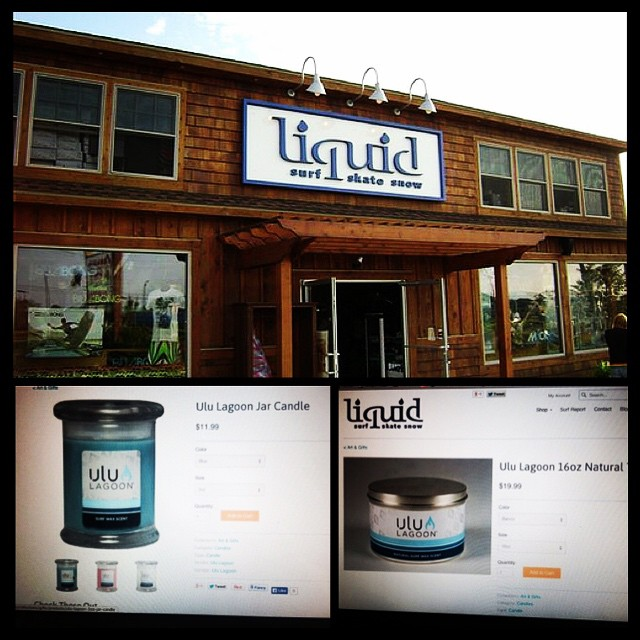Go check out @liquidboardshop for all your candle needs. While you're there, enjoy a cold one for us!  #liquidboardship #surf #skate #snow #uluLAGOON #candles #onestopshop #teamup