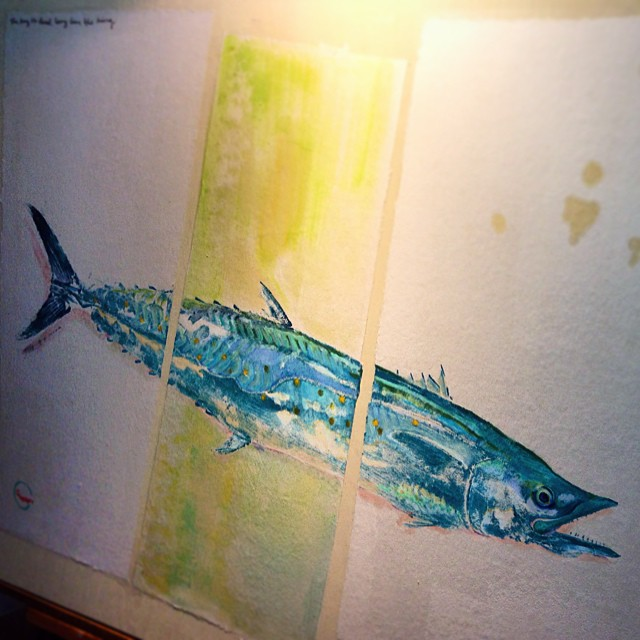 New king mackerel #gyotaku art off that kayak catch a couple weeks ago. Maybe on some t-shirts Spring '15? #thekingisdeadlonglivetheking