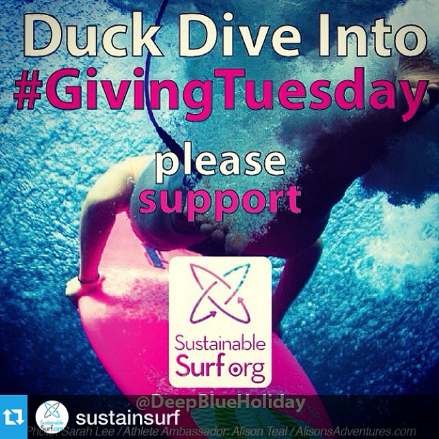 "Support #GivingTuesday net shredders! @sustainsurf has launched a holiday fundraiser @DeepBlueHoliday where you can shop to give, donate, or sign up to become one of their ""CREW "" members. #giftsthatmatter"