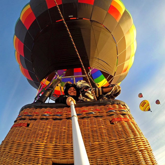 Hot air balloon selfie at the Albuquerque Balloon Fiesta. Photo: @scubannette #gopro #gopole #gopolereach #hotairballoon