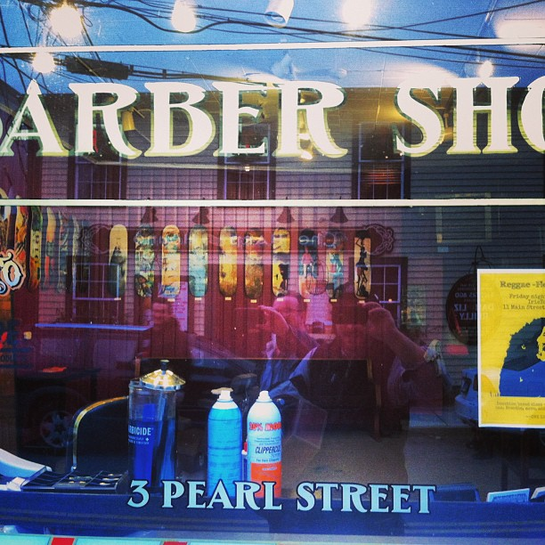 Stop by 3 Pearl street in Mystic for trim and some #skateart #barbershop