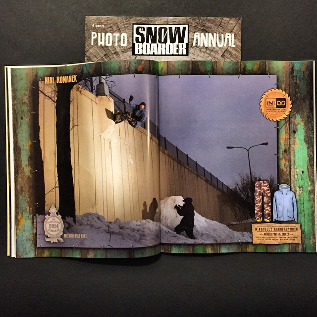 @snowboardermag photo annual is on shelves. Here is a spread of a unique #WallRide from @nial_romanek shot in MN. #RangerJacket #RangerPant in stores now. #MindfullyManufactred ♻️ #Urban