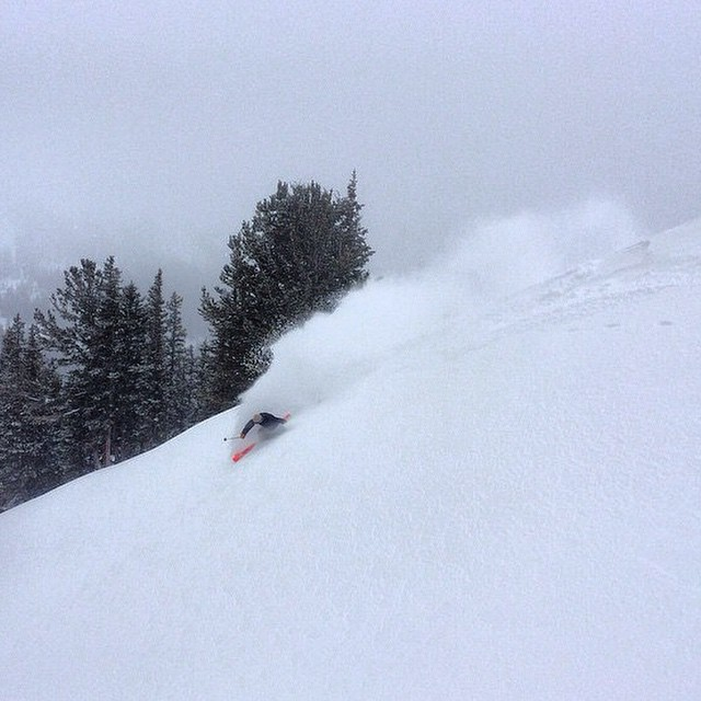 Flylow's @hoodylan throwing up the big rooster tail at @altaskiarea. #embracethestorm