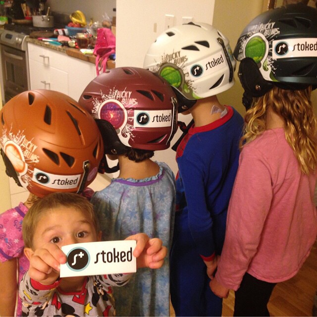 a family that shreds together, stays together. One of major supporters kids rocking our stickers on their helmets. #stokedorg email newyork@stoked.org and we'll mail you stickers!