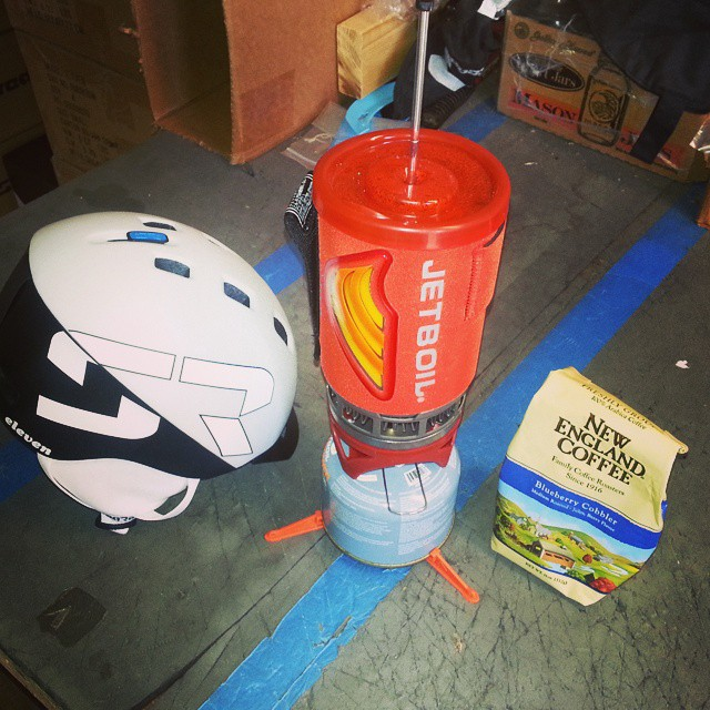 Brewing up a little morning #newenglandcoffee with the @jetboil while shipping you guys some helmets!