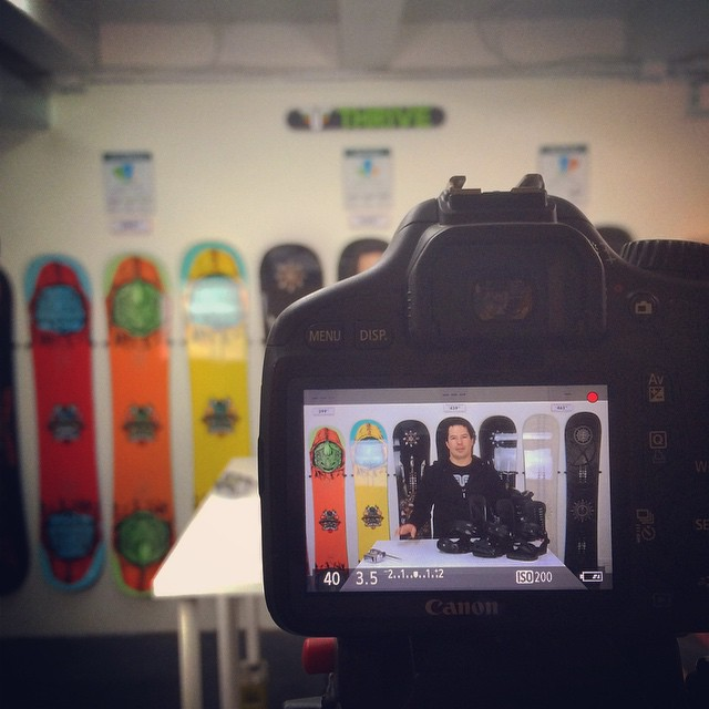 Shooting a new video in the Thrive Shop. #setup #newgear #squawvalley #thrivesnowboards