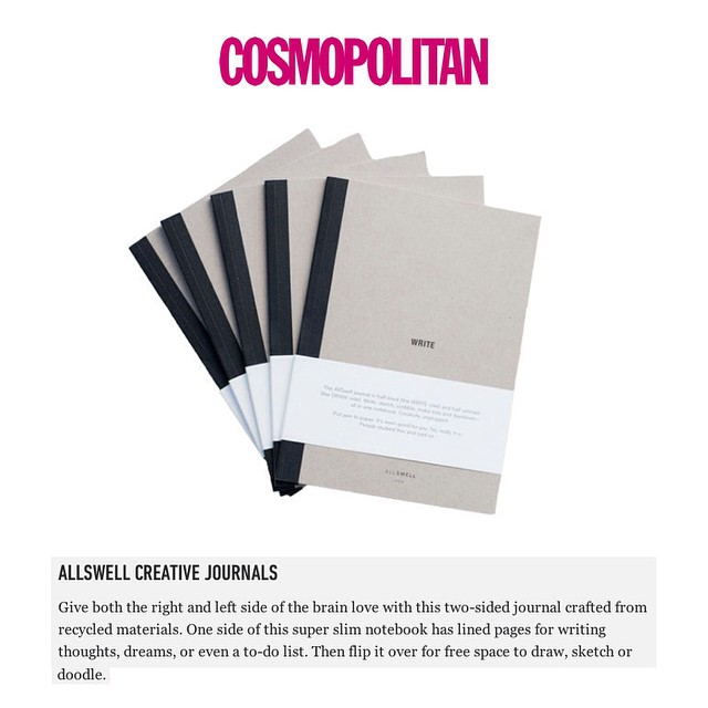 "Thanks for the nod @cosmopolitan. You so get us and we love that about you. ""Give both the right and left side of the brain love with this two-sided journal crafted from recycled materials. One side of this super slim notebook has lined pages for..."