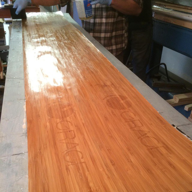 Team ski update...@iberlinish, you're next in line for a perfectly pressed Grace ski #orangehot #handmade #colorado #skis