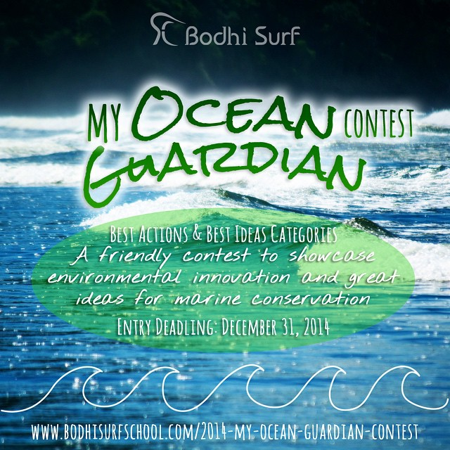 We want YOU to enter our 2nd Annual My Ocean Guardian Contest (this year, the Grand Prize  is a free Yoga and Surf vacation here in Costa Rica). Good for the ocean, good for you.