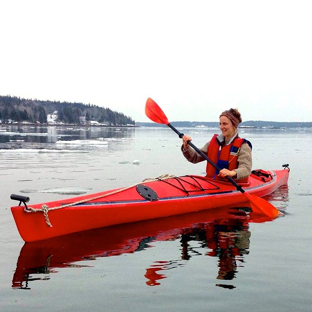 Offseason? What offseason? ASC partner scientist Abby Barrows sea kayaks near her lab in the Penobscot Bay, #Maine.  #ASCMicroplastics #seakayaking #ocean