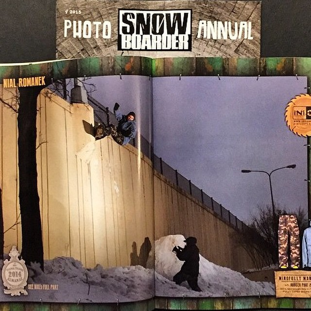 @nial_romanek in the #PhotoAnnual @snowboardermag  as seen in @think_thank #anNIALator #forridersbyriders #HandMadeLakeTahoe #front180out #OK thanks @inicooperative