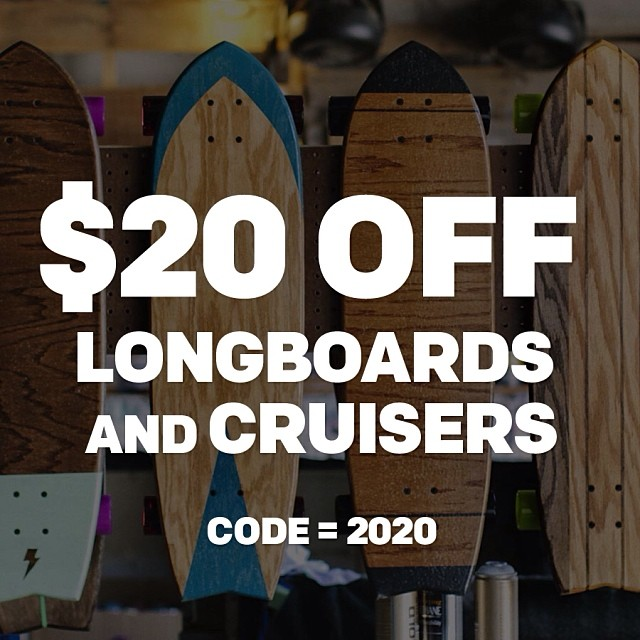 $20 OFF all STBCo. longboards and cruisers. Enter code 2020 at checkout.