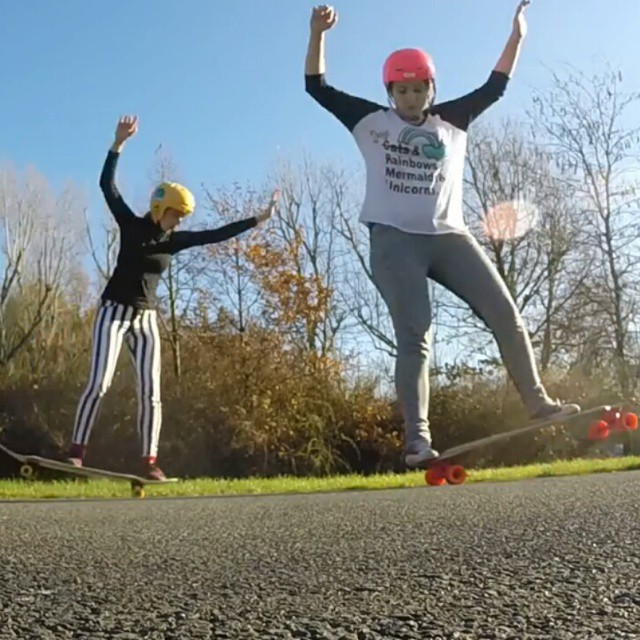 Go to www.longboardgirlscrew.com and check LGC #germany riders and sisters Isabelle & Josefine Blume chilling and dancing some. How awesome is sharing longboarding with your sister?? #longboardgirlscrew #girlswhoshred