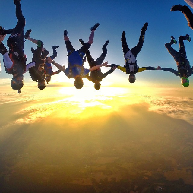 Photo of the Day! Just hanging out. Sunset skydiving with @jump_junkie and friends.