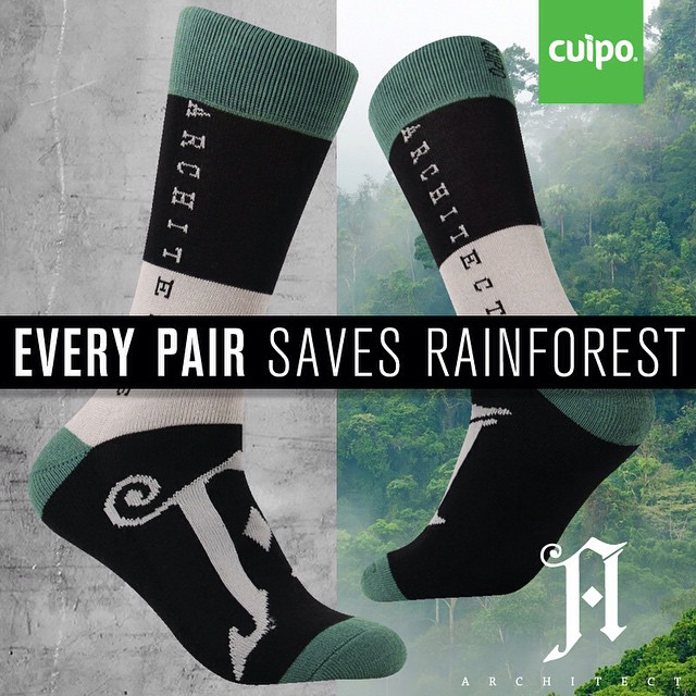 There are still some @artchitects X #Cuipo socks up on the site! Every pair saves 1 square meter of rainforest! #limitededition #CuipoArtistSocks