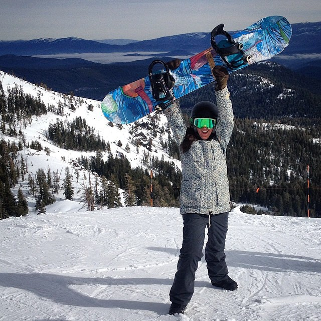 Check out @yogurecki, founder of  @coalitionsnow, on her MYTH - all mountain snowboard - hitting opening weekend @SugarBowlResort. Looks like the Sierras got a bit of snow coverage - looking forward to the next big storm supposedly hitting at the end...