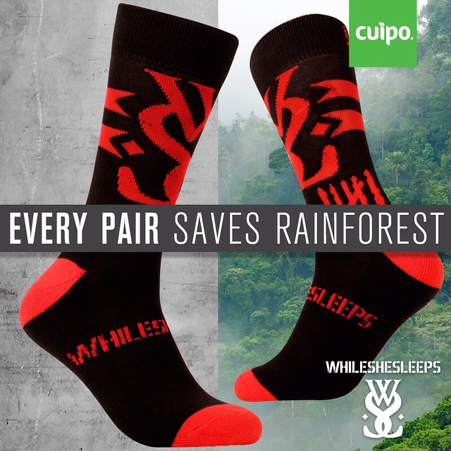 We also collaborated with @WSSOfficial to bring you 300 #limitededition #WhileSheSleeps socks! #saverainforest (Link in profile)