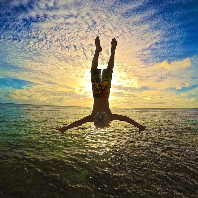 @dekes.of.hazard throwing a backflip into a Hawaiian sunset. Photo: @mason._.photography GoPro HERO4 | GoPole Bobber #gopro #hero4 #gopole #gopolebobber #hawaii #backflip