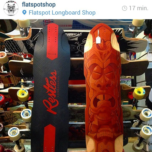 If you are located in the Vancouver area, @flatspotshop IS the place to go to get your hands on some #restlessboards . Their deck of the day is the #restlessNKD and the NKD advanced