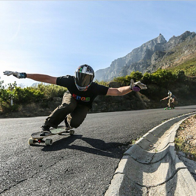 @kylewesterskate taking flight with @scoot_smith in Cape Town SA. Kyles been in SA for a minute now and has already won a couple outlaws and is ready for Hotheels this Thursday. Photo: @dylanhaskin #southafrica #downhill #flight #spreadyourwings...