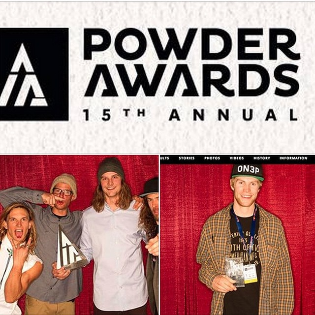 Big congrats to Flylow's @sanderhadley and @hoodylan for taking home the trophies at the 2015 Powder Awards.