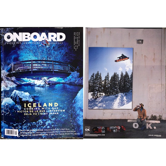 The new issue of @onboardmag just arrived- so stoked on @eldulche new ad #Jetson #forridersbyriders #HandMadeLakeTahoe @inicooperative @smithoptics @pistoleboardshop @bluebirdwaxandsnowboards #OK