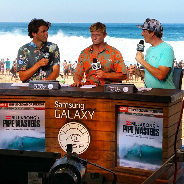 Michael Stewart representing Sustainable Surf on the Billabong Pipe Masters trials webcast. If you want to check it, watch QF heat 3.