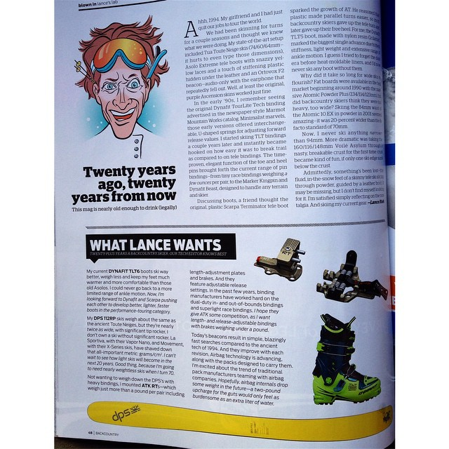 Lance Riek from @backcountrymag weighs in on the evolution of fat and light skis in the 20th anniversary issue. Giving a nod to the Pure3 Wailer 112RP2. #skis #skiing #backcountry