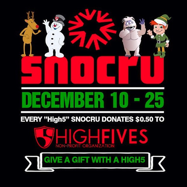 Tis the season to be jolly! Join in on the fun that is the @snocru app! For every 'High5' clicked on from today till Dec. 25th $0.50 will be donated to the High Fives Foundation. #15daysofsnocru