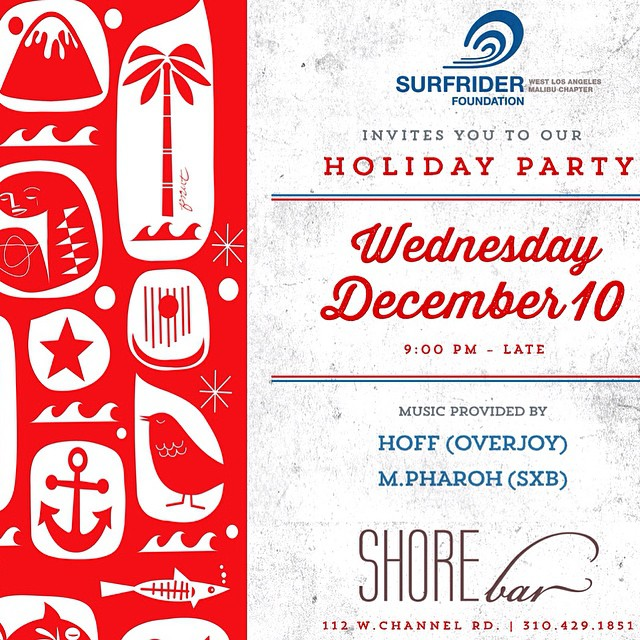 Come down to the #Surfrider #holiday party tonight in #SantaMonica! All #ocean #lovers are #welcome! @surfriderwla @surfrider