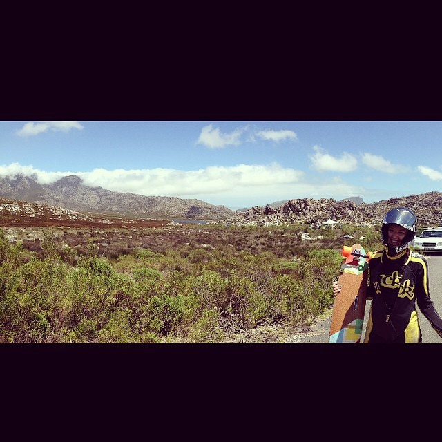 @spokywoky is in South Africa right now for #hotheels2014 and is stoked after the first day of practice! She's also there holding it down for the Predator team #southafrica #hotheels #downhill #longboardgirlscrew #DH6 #teampredator