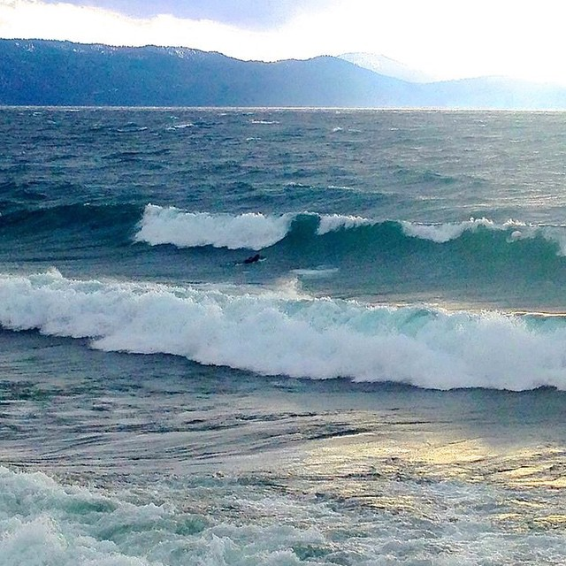 While it's a #rainpocalypse here in #SanFrancisco and the Sierras are waiting for the snow to fall Tahoe locals are taking advantage of the swell
