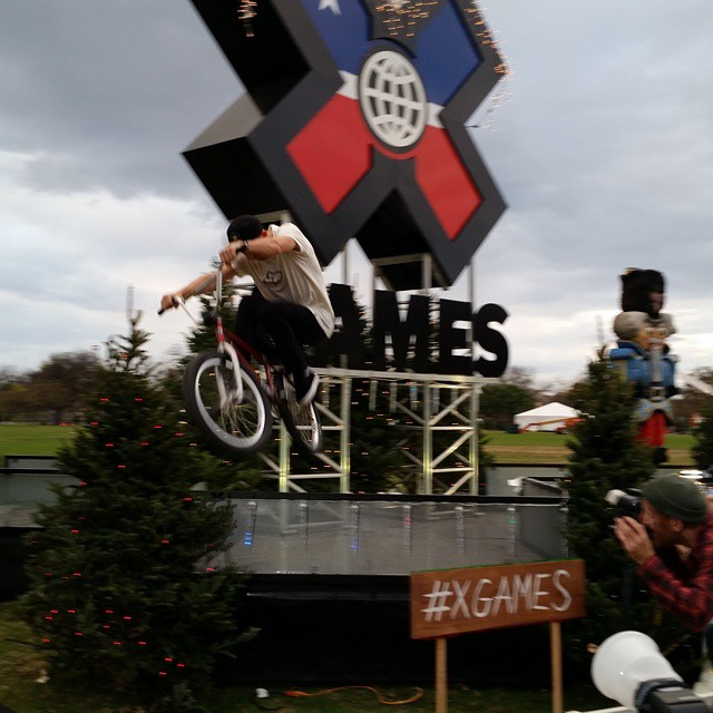 Defending BMX Park gold medalist @chase_hawk is gettin' weird at the Austin Trail of Lights! ❌