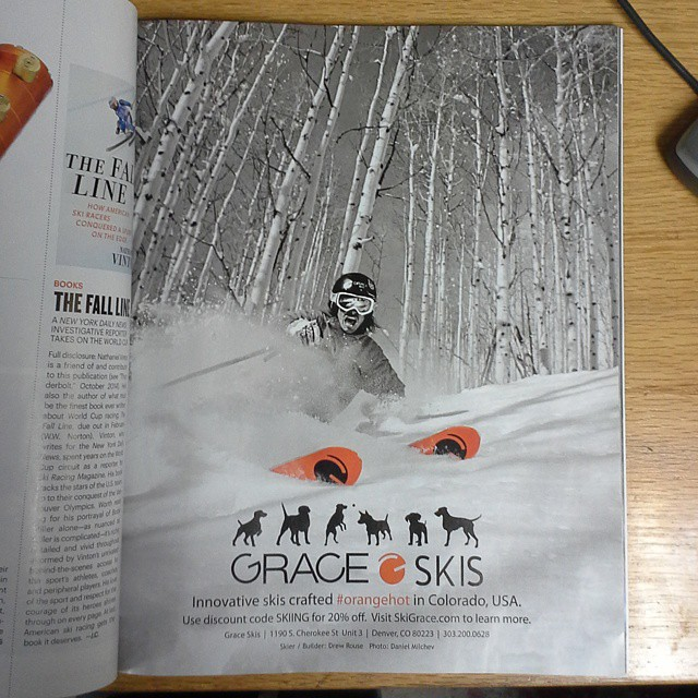 Our @skiingmagazine ad.  Go pick up the 2015 Adventure Guide. Thx @danielmilchev for the photo of @d.r.e.w.rouse #orangehot #Colorado