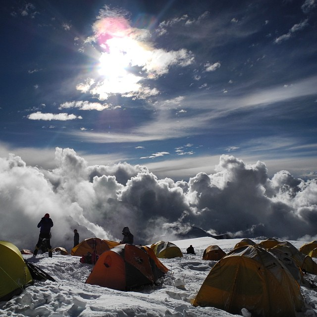 "Watching the sun set move across the sky at Camp 2 on Cho Oyu. ""Sunset was brilliant from the alitude of 7,100 meters, however it got feezing cold in the night,"" said #ASCsnowandice adventurer Carina Ahlqvist, who took this photo.  #ChoOyu #himalaya..."