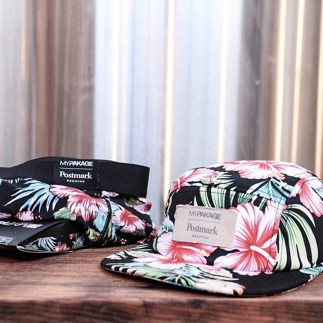 New MyPakage x Postmark Brewing collaboration. The floral print underwear and hat combo is now available on mypakage.com and in person at @postmarkbrewing #mypakage #permissiontoplay #itsallhappening