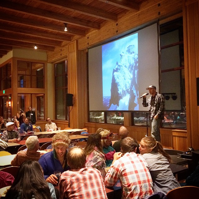 #SnowScience Jedi, professional snowmobile guide/athlete, & @alpineassassins co-founder, @theduncan775 dropping life saving knowledge & off-piste education awareness @ the @sierraavalanchecenter's annual #BackCountryBall fundraising event at @sugarbowl...