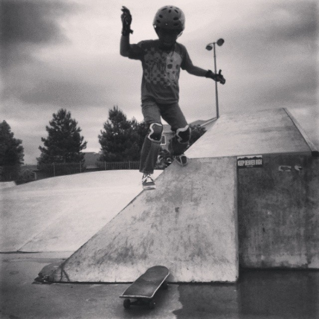 Look forward to days like this. Puddles make you look at things different like this #Skatestart camper learned how. #broomfield #teampainskateparks #outsideofthebox