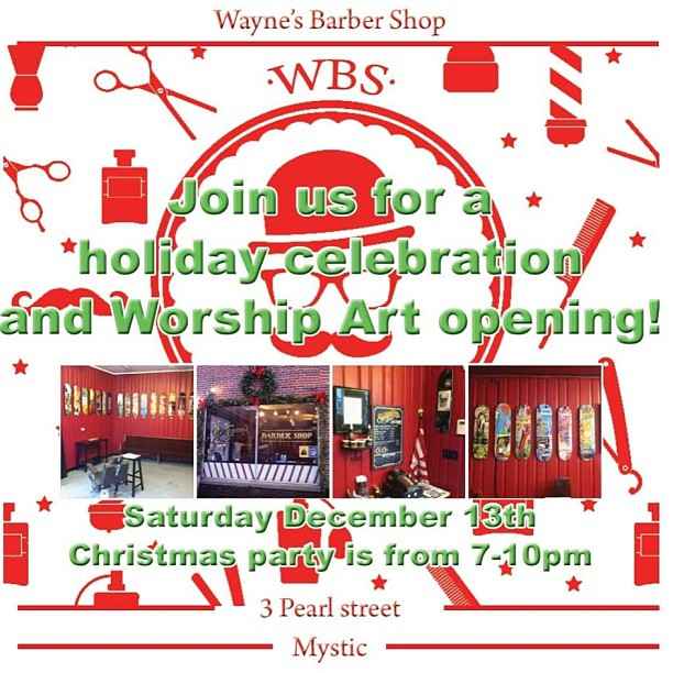 Tonight.  Come to 3 Pearl street in mystic. Free beer, Worship art, holiday party.