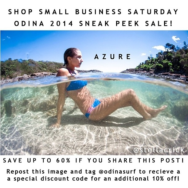 Last Day of our 2014 Holiday Sneak Peek Sale! 35% OFF new styles and 50% OFF old styles! Add another 10% if you share this post and tag @odinasurf last day Saturday Nov. 30th! Small Bussiness Saturday! @stellacrick #model @tahneileecristini